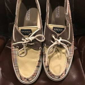 Sperry Top-Sider Pink, Blue, & Brown Plaid Shoes